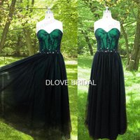 A-Line special occassion dresses - Classic Green Taffeta Black Tulle Lace Prom Dress High Quality Real Photo A Line Floor Length Strapless Special Occassion Party Dresses Gown