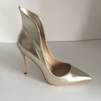 Wholesale Ladies High Heels Size 11 - Fashion Bridal Wedding Shoes Light Gold Soft Leather Custom Made Plus Size High Thin Heels Women Pumps Pointed Toe Ladies Party Shoes Sexy