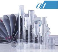 Wholesale Empty Airless Lotion Bottles - Empty Airless Pump Bottle 5ml 10ml 12ml 15ml 50PCS LOT vacuum pressure emulsion bottle with lotion pump Cosmetic Bottle