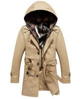 Wholesale Trench Coat Long Men Xxl - Wholesale- New fashion men spring long coat mens trench coats detachable hat outwear windbreaker 3 Colors M L XL XXL 3XL 4XL