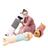 Wholesale Giant Stuff Dog Toys - Wholesale- 50CM Cute Stripe Giant Lie Prone Papa Dog Plush Toy Stuffed Dolls Sleeping Pillow 2016 Baby Best gifts for Children YZT0173
