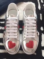 Wholesale Heart Shoes - Newest 2017 luxury brand design women casual shoes sliver patent leather sneakers heart comfortable flats outdoors shoes for lovers 35-39