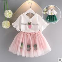 Wholesale Strawberry Cotton Shirts - Girls outfits children strawberry V-neck falbala short sleeve T-shirt + tulle tutu skirt 2pcs sets 2017 summer kids princess sets T2653