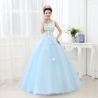 Wholesale Scalloped Sweetheart Tulle Ball Gown - Quinceanera Ball Gown Dresses V Neck Tulle With Flowers White Lace Appliques Long Sweet 16 Sweep Train Party Prom Gowns