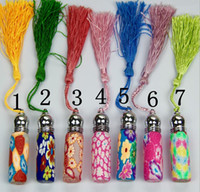 Wholesale Clay Perfume Bottles - 6ml Mini Polymer clay Perfume Bottle Bronzing Travel Portable tassels Ballpoint Perfume Spray Bottle Refillable Portable Refillable Perfume