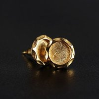 Wholesale Gold Semi Mount Jewelry - Sterling Silver 925 Plated Yellow Gold 7.5x7.5mm Round Cabochon Semi Mount Women Stud Earrings Setting Party Fine Jewelry