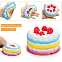 Wholesale Cell Phone Pendants - Squishy Rainbow Strawberry cake 11cm Slow Rising Toy Relieve Stress Cake Sweet Food PU Cell Phone Strap Phone Pendant Key Chain Toy Gift