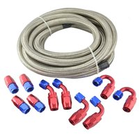 Wholesale braided fuel hose - AN6 Double Stainless Steel Braided Oil Fuel Hose 5Meter+AN6 Red And Blue Fittings Hose End Adaptor Kit Oil Fuel Adapter Kit