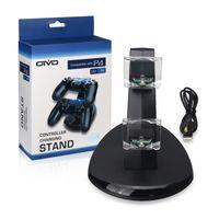 carga ps4 al por mayor-Dual LED Cargador USB Base para base de carga para Sony PlayStation 4 PS4 Controlador de carga Juego Juego Controlador inalámbrico Consola de carga