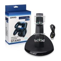 oyun kumandası standı toptan satış-Oyun Oyun Kablosuz Kumanda Konsolu şarj etme Sony PlayStation 4 PS4 Controller için Çift LED USB Şarj dock Beşik İstasyonu Standı