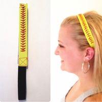 Wholesale Cheapest Leather Baseballs Wholesale - 2017 cheapest!!New Arrival Leather Sports Headband Softball Baseball Hair Bands Women Elastic Head Bands Headwear