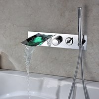 Wholesale Fixed Temperature - LED Lamps Hot Tub Facets Chrome Finished Wall Mount Bathtub Faucet Temperature Sensor LED Color Changing Bathtub Tap