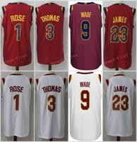 Wholesale Unisex Basketball Shorts - Mens 2017-2018 New 9 Dwyane Wade 23 LeBron James 1 Derrick Rose 3 Isaiah Thomas Maroon White Red Blue 100% Stitched jersey free shipping