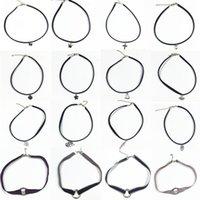 Wholesale False 18 - Wholesale-18 Style elegant necklace Long Way Tube black leather cord choker collier femme False Collar Necklace for women