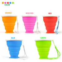Wholesale Retractable Folding Cup - New Portable Vogue Outdoor Travel Silicone Retractable Folded Cup Telescopic Collapsible Soft Drinking Cup Water Bottles