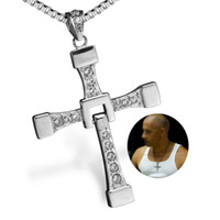 Wholesale Titanium Fast Furious Steel Necklace - Bahamut Big size Fast and Furious 7 Dominic Toretto's Cross Necklace Pendant Vin Titanium Steel Necklace Men's Jewelry