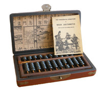 Wholesale Chinese Wooden Box Antique - Exquisite Chinese folk collection Vintage Wooden Bead Abacus leather Box with Instruction book