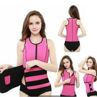 Wholesale hot sauna body slim belt for sale - Group buy 4 Colors Ultra Sweat Neoprene Sauna Waist Trainer Vest Hot Shaper Shapewear Slimming Adjustable Sweat Belt Body Shaper CCA6012