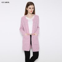 Wholesale Wool Coats For Women Korean - Wholesale-Women Korean Open Stitch Cardigan With Pockets Casual Candy Color Long Cardigan Autumn Winter Knitted Coat For Ladies