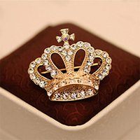 Wholesale fashion imperial crown for sale - Group buy Fashion Rhinestone Crystal Luxury Imperial Crown Brooches Pin Corsage
