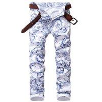 Wholesale Pants Porcelain - Men's fashion blue and white porcelain pattern print jeans Slim stretch denim pencil pants Long trousers