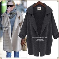 Wholesale Ladies Brown Winter Coats - Wholesale- Winter Women Kintted Cardigan Long Sleeve Wool Coat Jacket Loose Coat Lady Lapel Knit Sweater Outwear Clothes