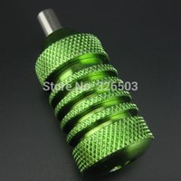 Wholesale Tattoo Machine D - Wholesale-25mm Green Aluminum Alloy Tattoo Machine Grips With Set Screws & Tube Supply AGR25D-D