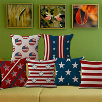 Wholesale Cotton Linen Cushion Cover Pillowcase America Flag Stars Striped Pattern Pattern Chair Sofa Square Pillow Cover Home Living Room Decorative