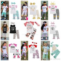 Wholesale Kids Leather Pants - INS Clothing Sets Baby Shirts Headband Pants Kids Printed Bow Tops Hairband Pants Arrow Letter Leather Outfits Summer Fashion Suits H295