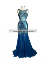 Wholesale Dress Spring Sex Free - Ink Blue Mermaid Trumpet Crew sex Backless Tea-Length Sleeveless Sequins lace train Evening Dresses free shipping
