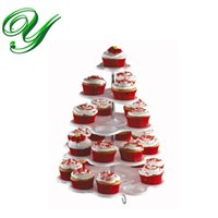 Wholesale Cupcake Carriers - Cupcake Holder Stand tower lollipop Display plastic white carrier 3 4 5 tiers plates wedding Party Decorations Kids Birthday Event Supplies