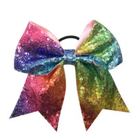 Wholesale Large Bows For Kids Hair - 6Pcs Lot 7 Inch Large Rainbow Sequin Cheer Bow With Elastic Band For Girls Kids Cheerleading Rubber Hair Band Beautiful HuiLin A39