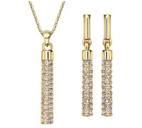 Wholesale Set Crystal Earring Neoglory - Neoglory 18K Real Gold Plated Swarovski Crystal Drop Earrings and Pendant Necklace Women Jewelry Sets