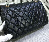 Wholesale Large Double Zipper Handbags - High Quality women's Large Handbag Double Flap Bag Lambskin Fashion Shoulder Bags Caviar Leather 1113 Plaid Chain Bag
