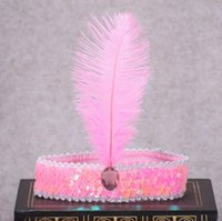 accessoires de cheveux de strass indien achat en gros de-Coloré En Plume D'autruche Effectuer Bandeau Enfants Indien Strass Perlé Sequin Bandeau Cheveux Accessoires Holloween Masque DH12