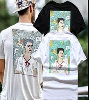 Scoop Neck black white artists - High Street American brand spoof artist Frida T shirt fool cat short sleeve middle finger graffiti top tee price