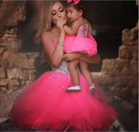 Wholesale Cute Simple Prom Dresses - Cute Ball Gown Short Prom Dresses Mother And Daughter Dress 2017 Beads Sweetheart Sleeveless Tulle Pink Party Dress Gown
