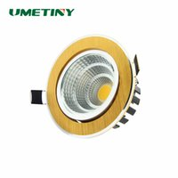 Venta al por mayor- UMETINY Dimmable LED COB Downlight 7W 9W 12W 18W 20W Lámpara de techo redonda Golden Down luz empotrada interior abajo lámpara Spot luces