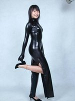 Wholesale Sexy Cheongsam Skirts - Black Cheongsam paragraph dress skirt Elastic tights full body Glue Spandex lycra Metal flashing color Adult suit