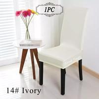 evrensel beyaz spandex düğün tezgahı kapakları toptan satış-1 ADET Evrensel Polyester Streç Beyaz Sandalye Kapak Spandex Elastik Renkli Sandalye Kapak Ziyafet Ev Düğün Dekorasyon Ev Tekstili için