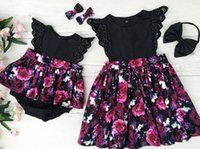Wholesale Little Girls Formal Dresses Wholesale - Little Sisters Matching Summer Baby Girls Floral Dresses kids Lace Fly Sleeve Princess Dress +Bow Headband Baby Rompers Kids Summer Sets