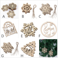 Wholesale Wooden Snowflakes - 8-Packed wood laser christmas decorations christmas ornaments outdoor christmas decorations wood hollow snowflake santa claus bell ornament