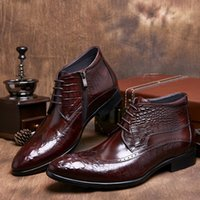 Wholesale Mens Wedding Boots - Wholesale- Black  brown tan autumn mens ankle boots genuine leather casual shoes mens dress boots formal man wedding party shoes