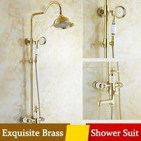 Wholesale Rain Shower Head Gold - Gold palted Bathroom Shower Suit Big Hand Head Rain Shower 2 Handle Antique Thermostatic Waterfall Faucet for Brass Low lead Mixer ShowerSet