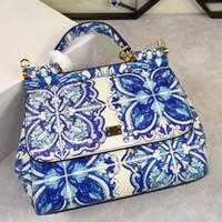 лимонные сумочки оптовых-Новый цвет печати seriesblue и белые цветы лимон pineapplemedium одно плечо сумка