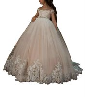 Wholesale lace sashes for wedding dresses for sale - Group buy Princess Lace Sheer Birthday Girls Pageant Dress Sheer Sash Girl Communion Dress Kids Formal Wear Flower Girls Dresses for Wedding