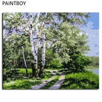 Paisagem Frameless Pictures Painting By Numbers DIY Digital Canvas Oil Painting Decoração para casa para viver Roon GX7487 40 * 50cm
