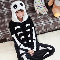Wholesale Couple Onesies For Adults - Winter Skull Cosplay For Couples Pajamas Black Onesies Warm Flannel Pajamas Sets For Adult Unisex Nightwear Mens Women Sleepwear