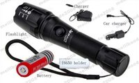 Wholesale New High Powered Led Flashlights - NEW 18650 Battery + Car Charger + charger Ultrafire CREE LED XML T6 3000 Lumens flashlight High Power E17 LED Zoomable Torch light MYY