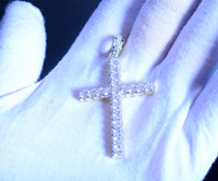Wholesale Mens 925 Silver Jewelry Necklace - Mens 925 Sterling Silver Hip Hop Jewelry Fashion Bling Bling Cross Pendant   Present Christian gifts